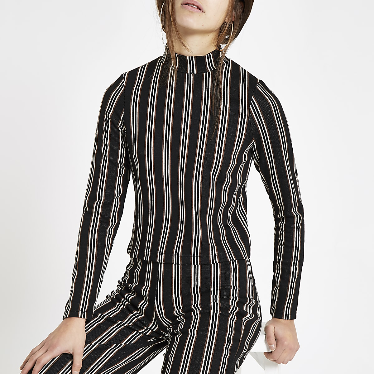 Petite black stripe high neck top