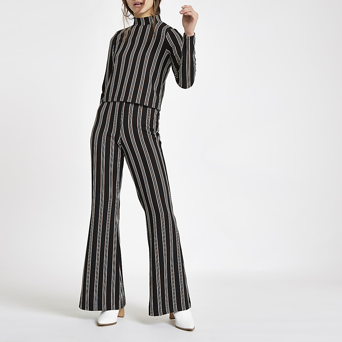 Petite black stripe wide leg trousers