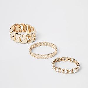 Multipack goudkleurige armbanden met siersteentjes