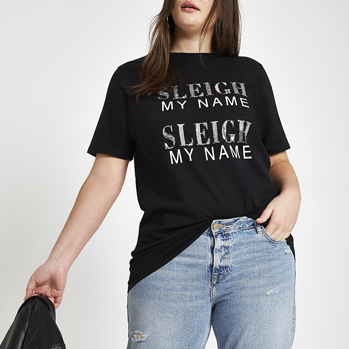 Plus black 'sleigh my name' sequin T-shirt
