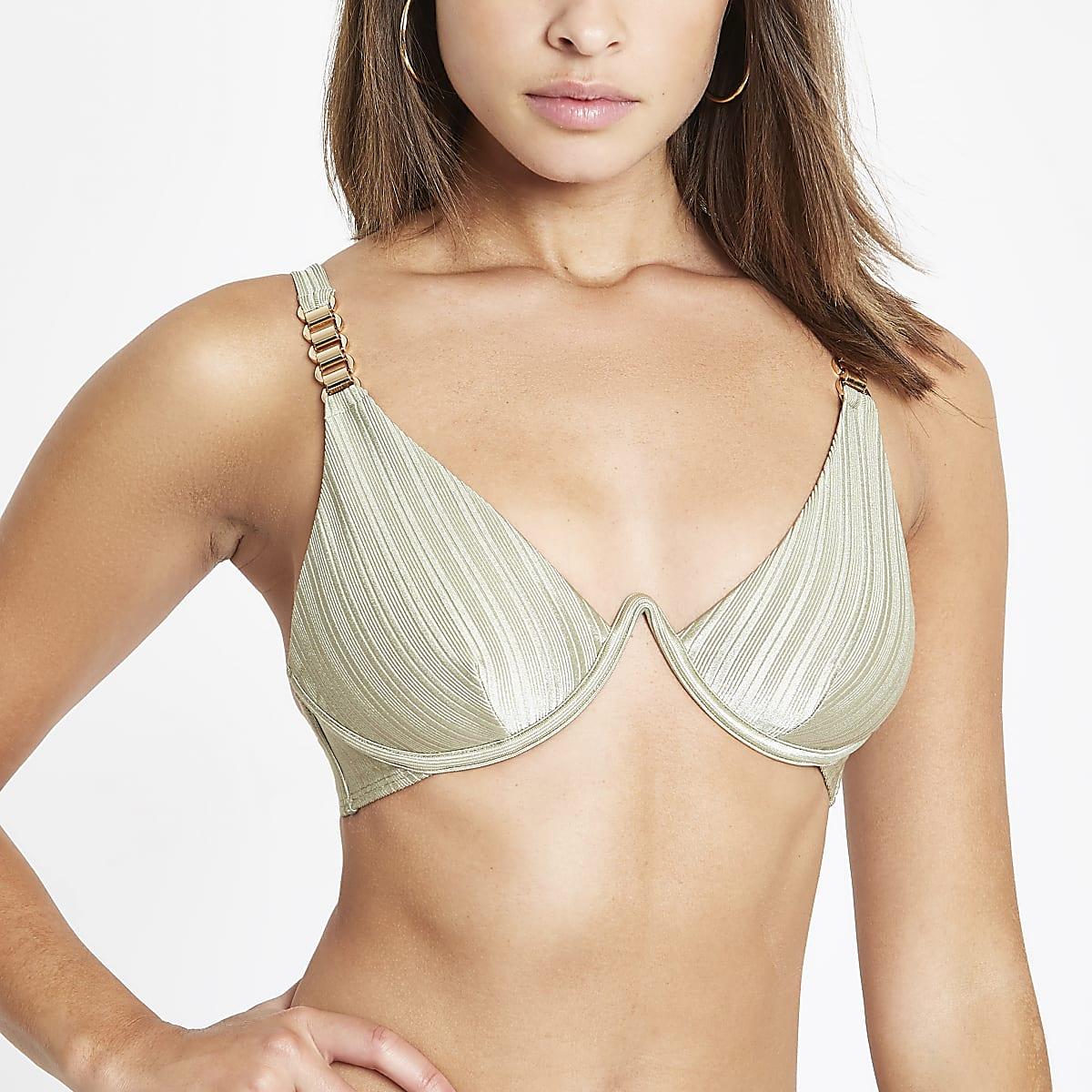 Kaki geribbelde bikinitop met beugel en ketting