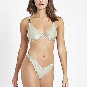 Bikinihose in Khaki mit hohem Beinausschnitt