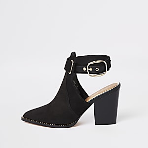 Black western cut out shoe boot