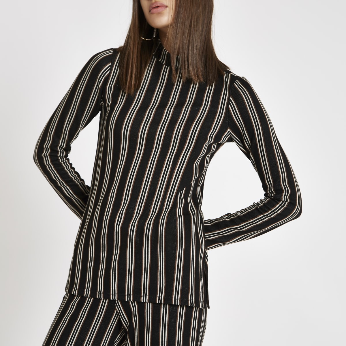Black stripe high neck top