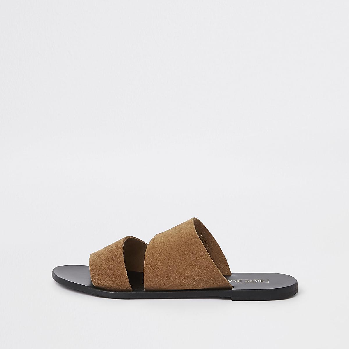 Brown suede mule flat sandals