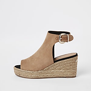 cde3bb52c Light brown espadrille platform wedges