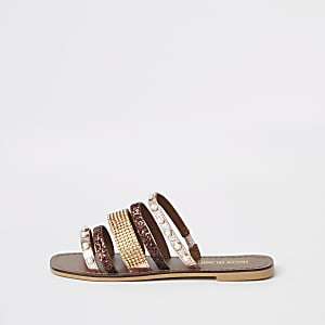Brown leather multi strap embellished sandal