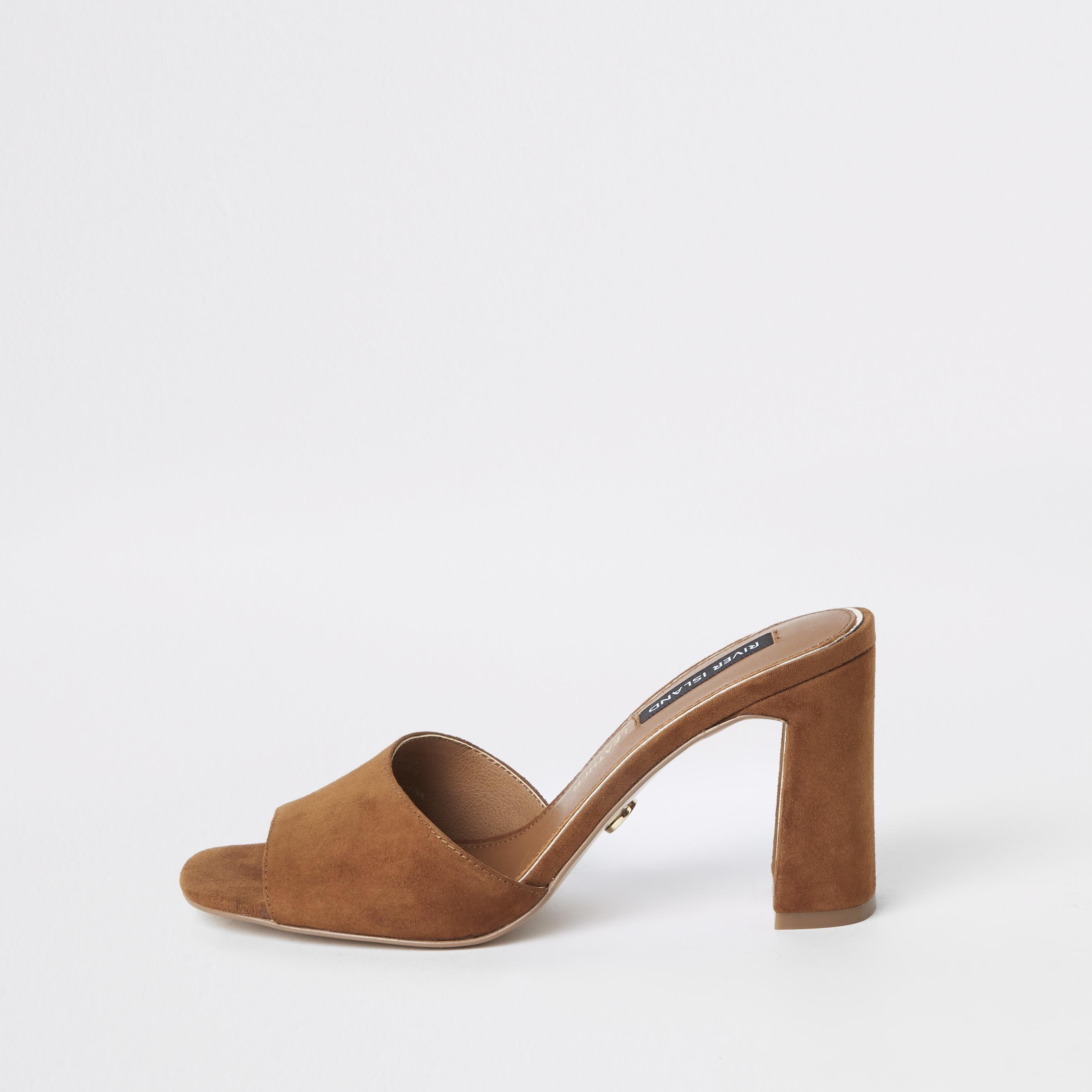 RIVER ISLAND | Womens Brown Suede Heel Mule Sandals | Goxip