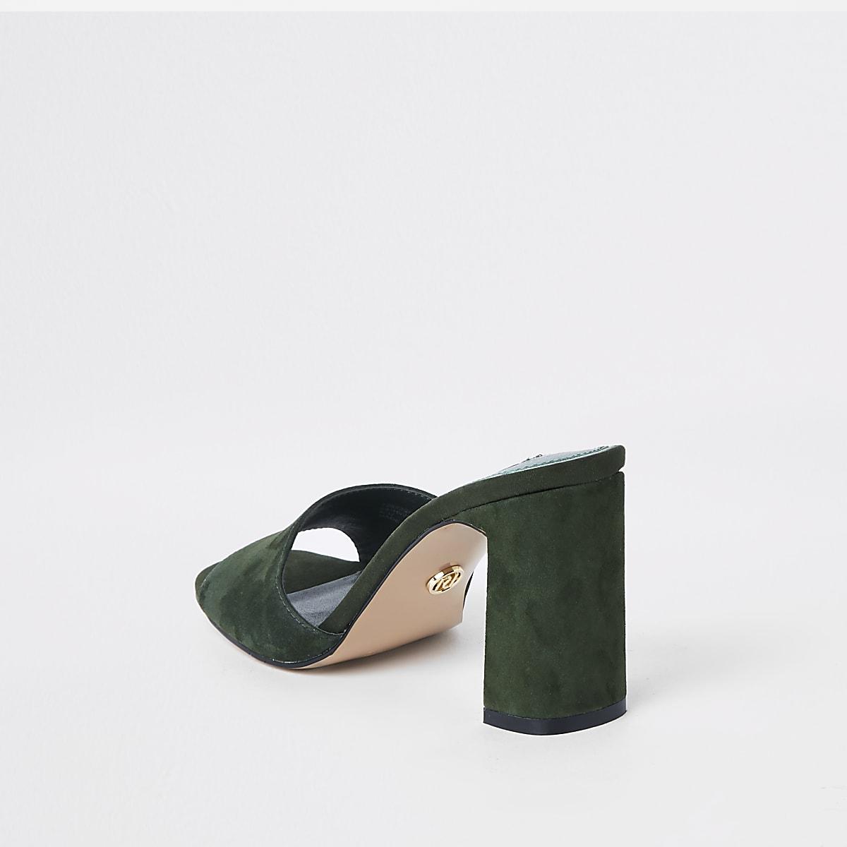 89df095b8ee Khaki suede block heel mules