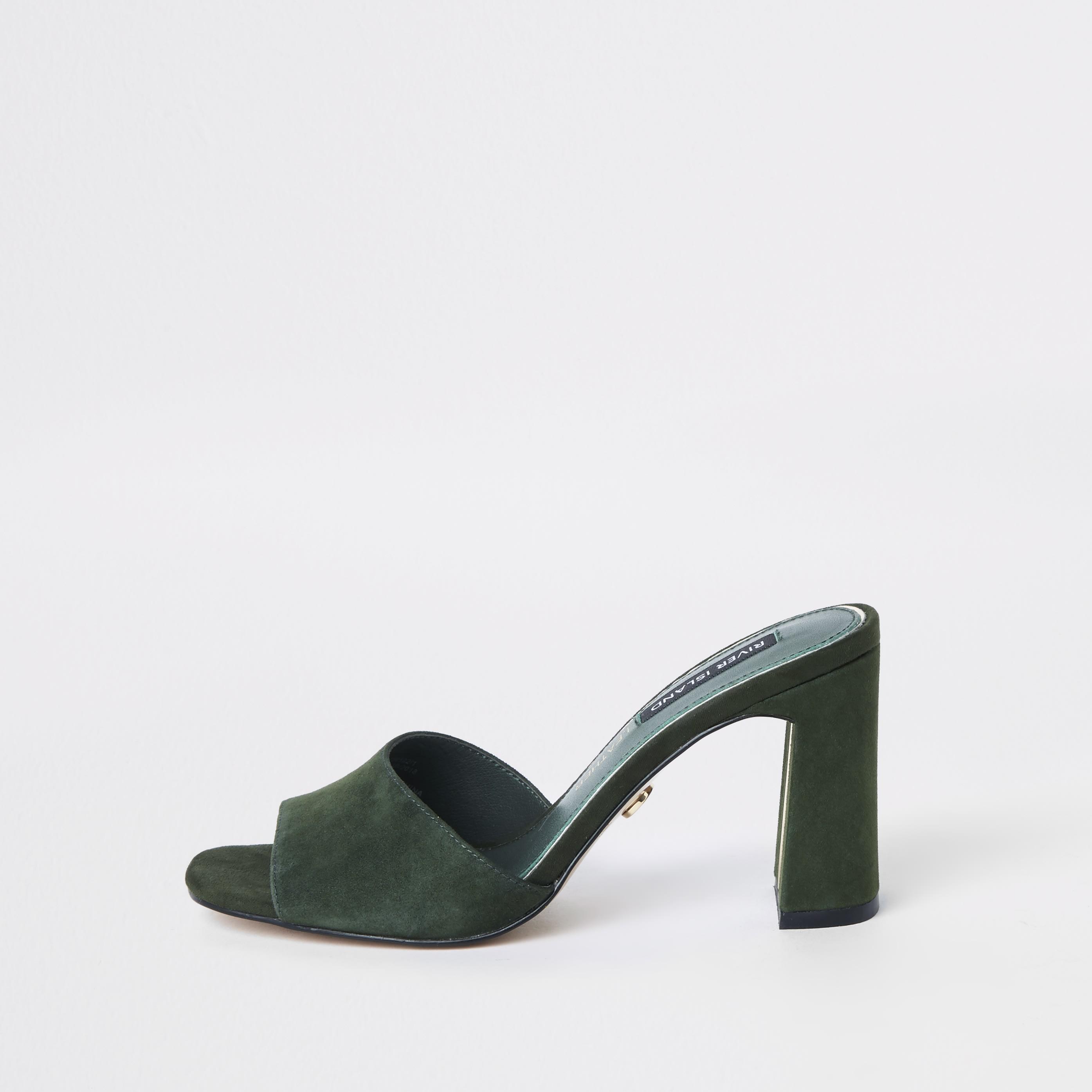 RIVER ISLAND | Womens Khaki Suede Block Heel Mules | Goxip