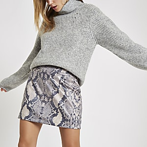 Grey snake print zip mini skirt
