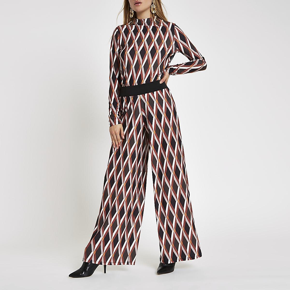 Pantalon large à imprimé géométrique orange