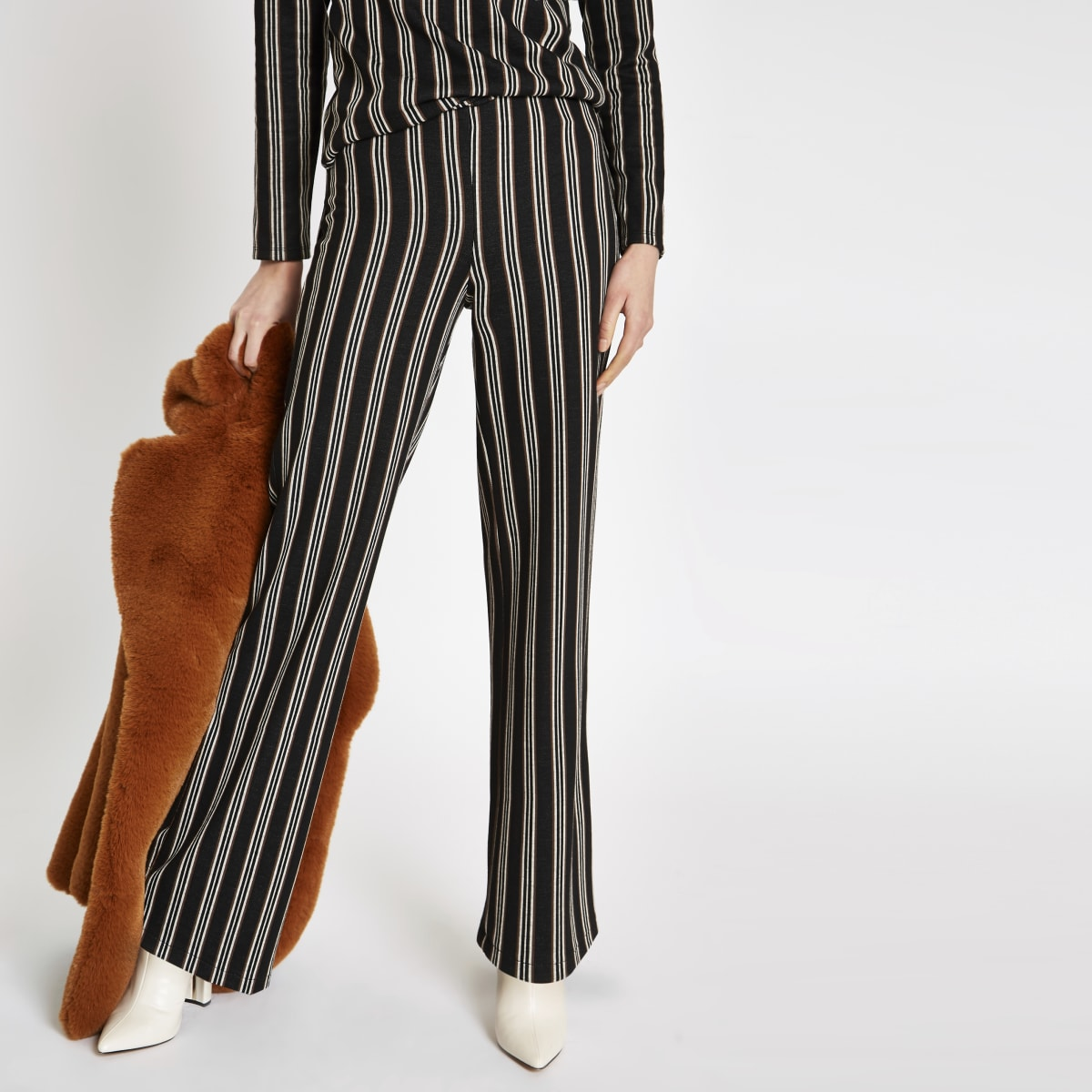 Black stripe wide leg trousers