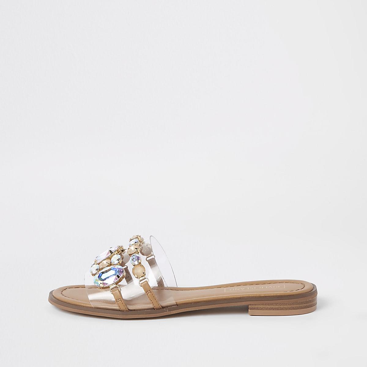 Beige verfraaide platte sandalen met siersteentjes
