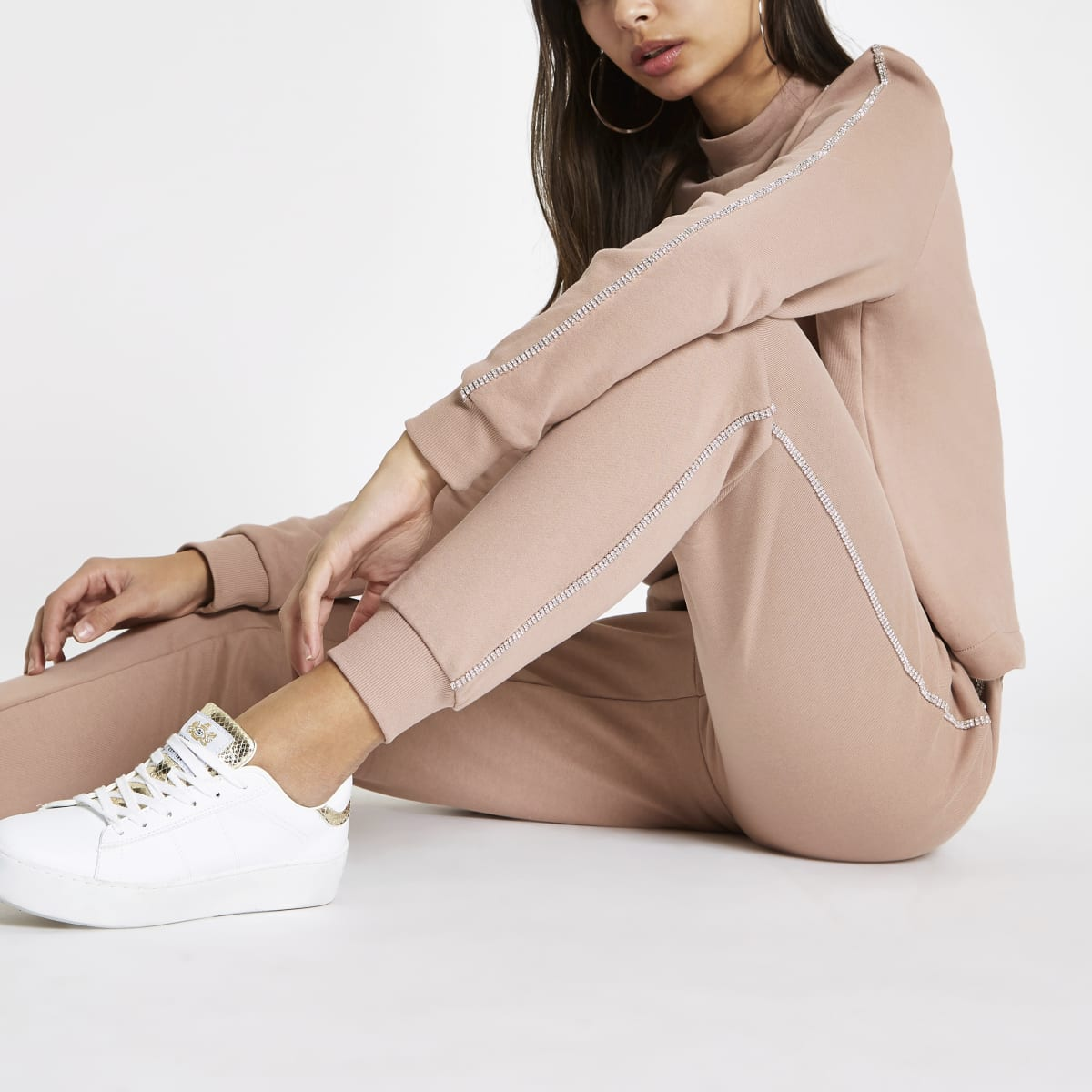 Light pink diamante trim joggers