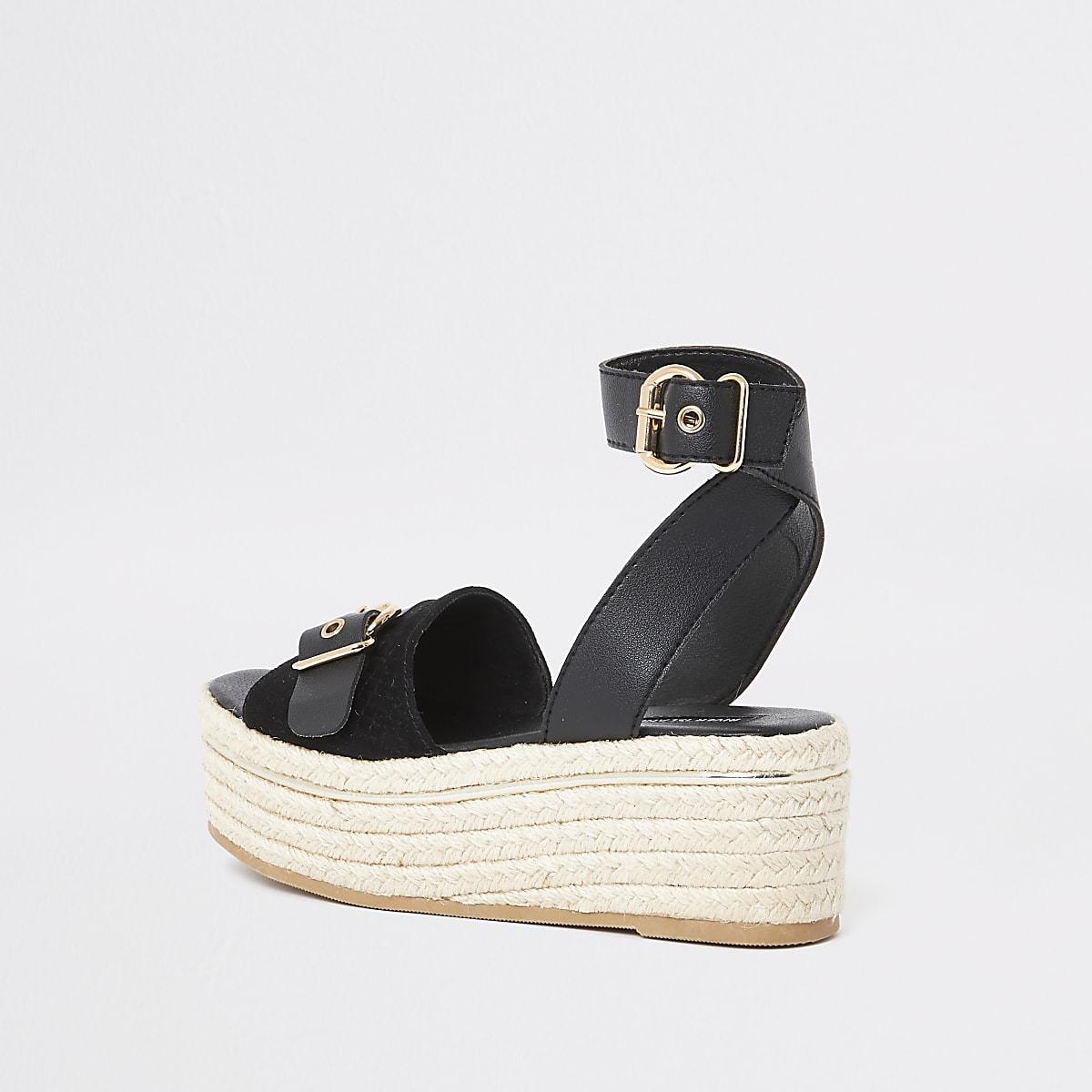 d99b11cf1c8c Black espadrille wide fit flatform sandals - Sandals - Shoes   Boots ...