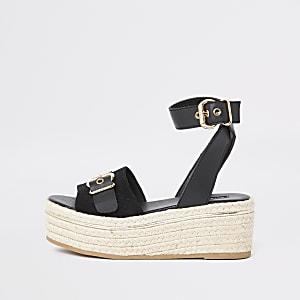 Sandales noires à semelle plateforme style espadrilles coupe large