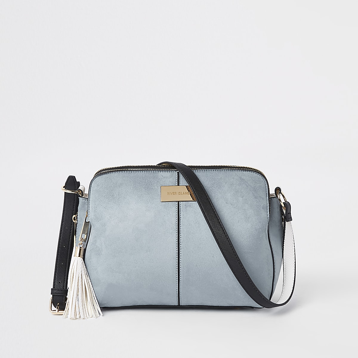 Blue triple compartment cross body bag