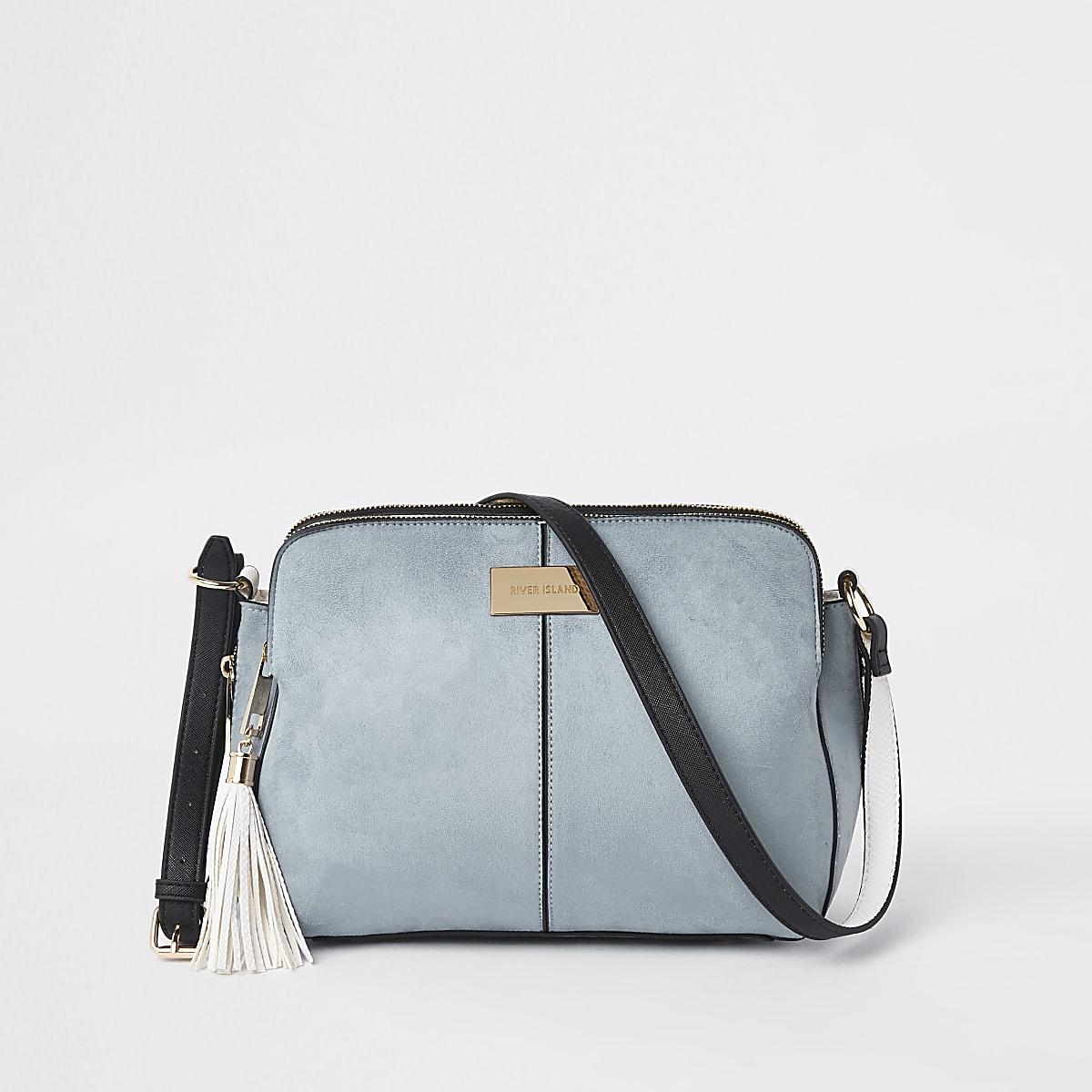Blauwe crossbodytas met drie vakken