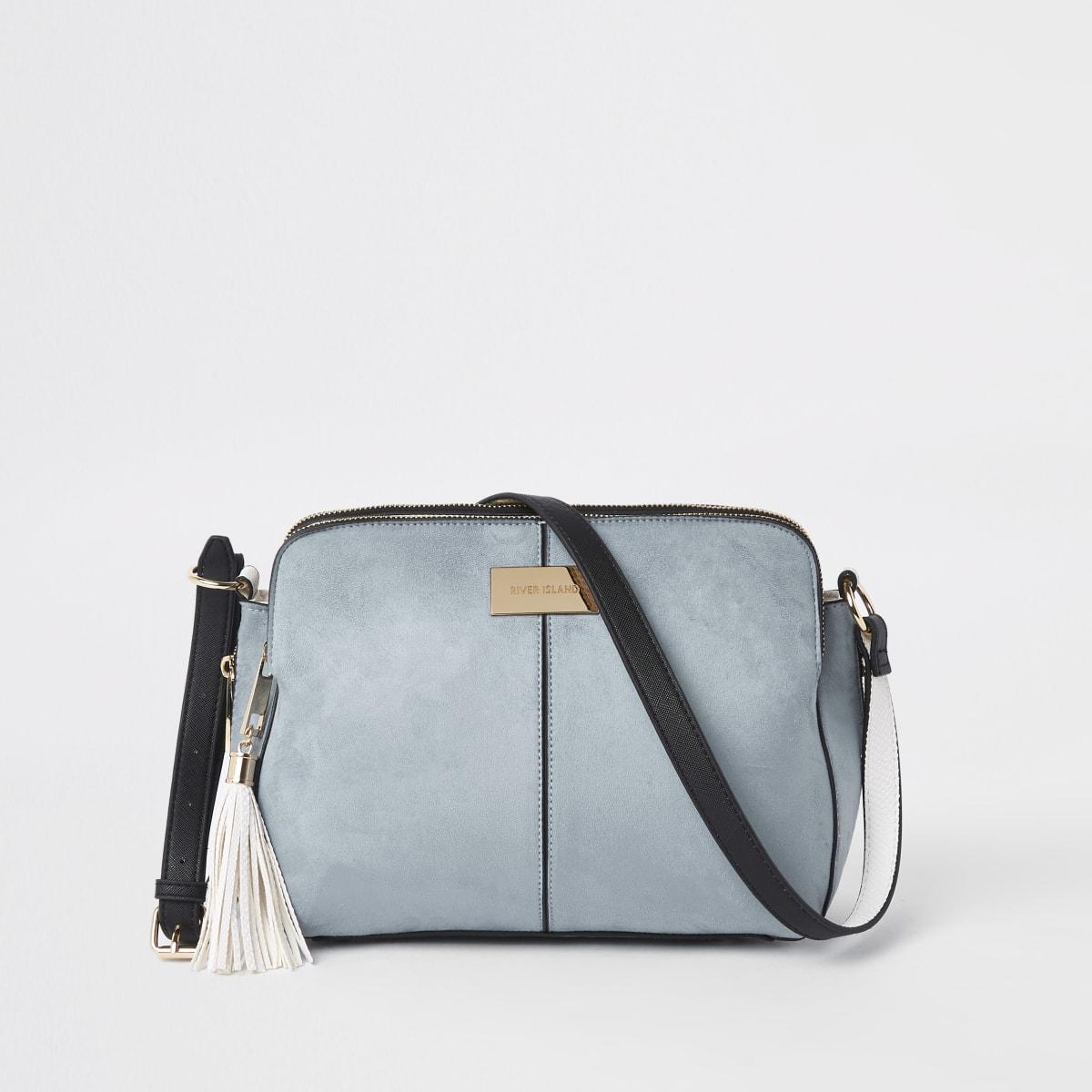 Blue triple compartment cross body bag