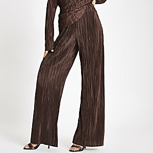 Brown plisse wide leg pants