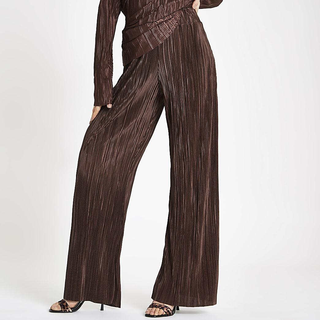 Pantalon large plissé marron