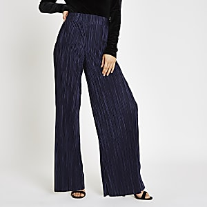 Navy plisse wide leg trousers
