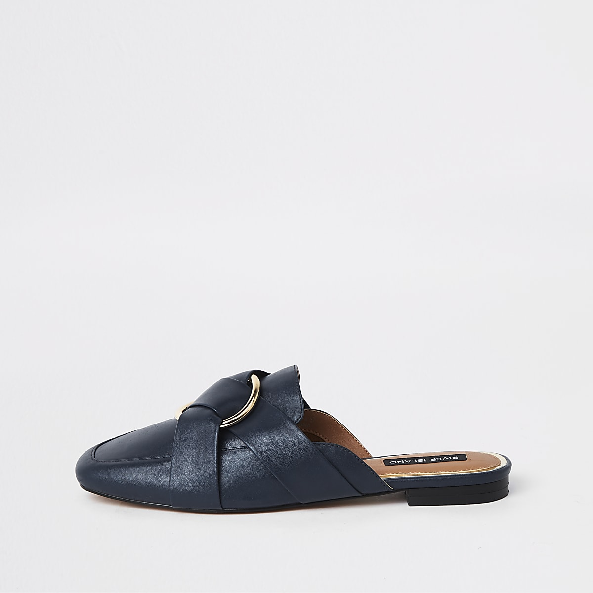 Navy ring backless loafers