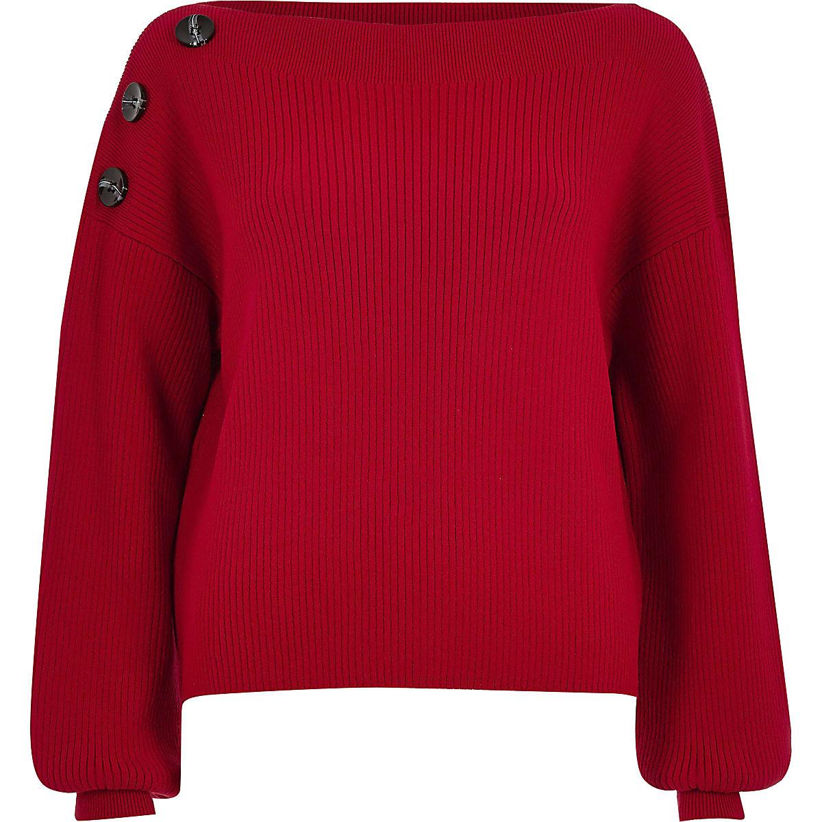 nouveau concept c9382 48c58 Red knit boat neck button jumper