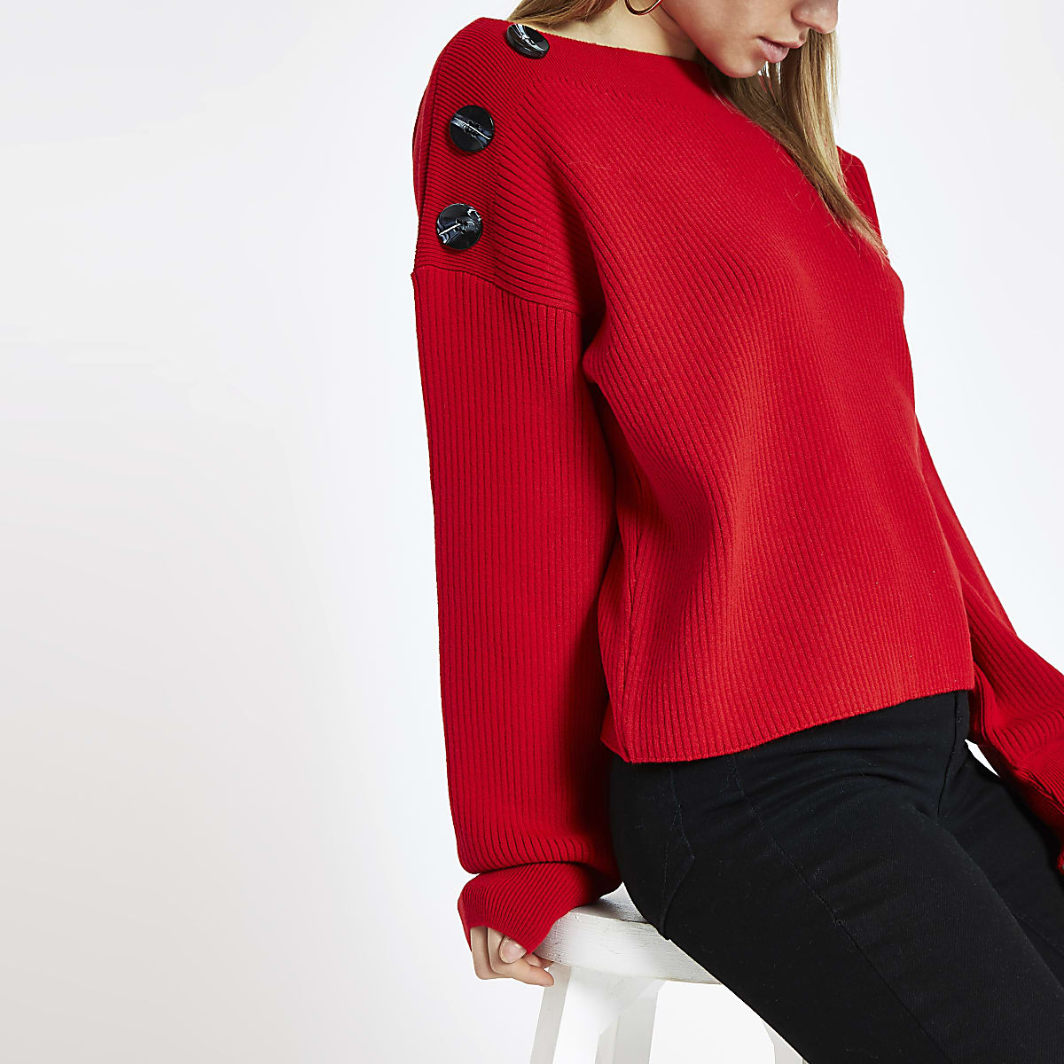 Red knit boat neck button sweater