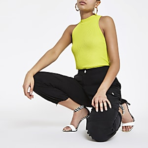 Lime cut away turtle neck tank