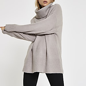 Grey oversized roll neck jumper