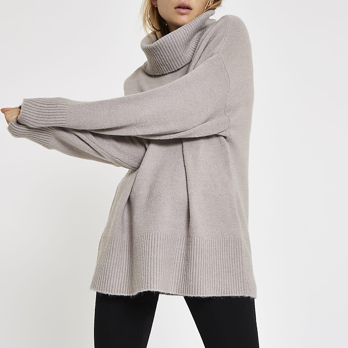 4b0bf8f6ec6 Grey oversized roll neck jumper
