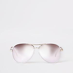 Witte pilotenzonnebril met zilverkleurige glazen
