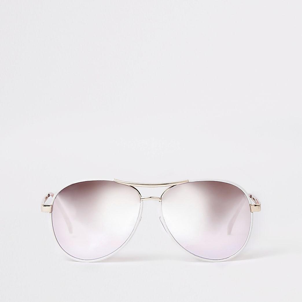 White silver lens aviator sunglasses