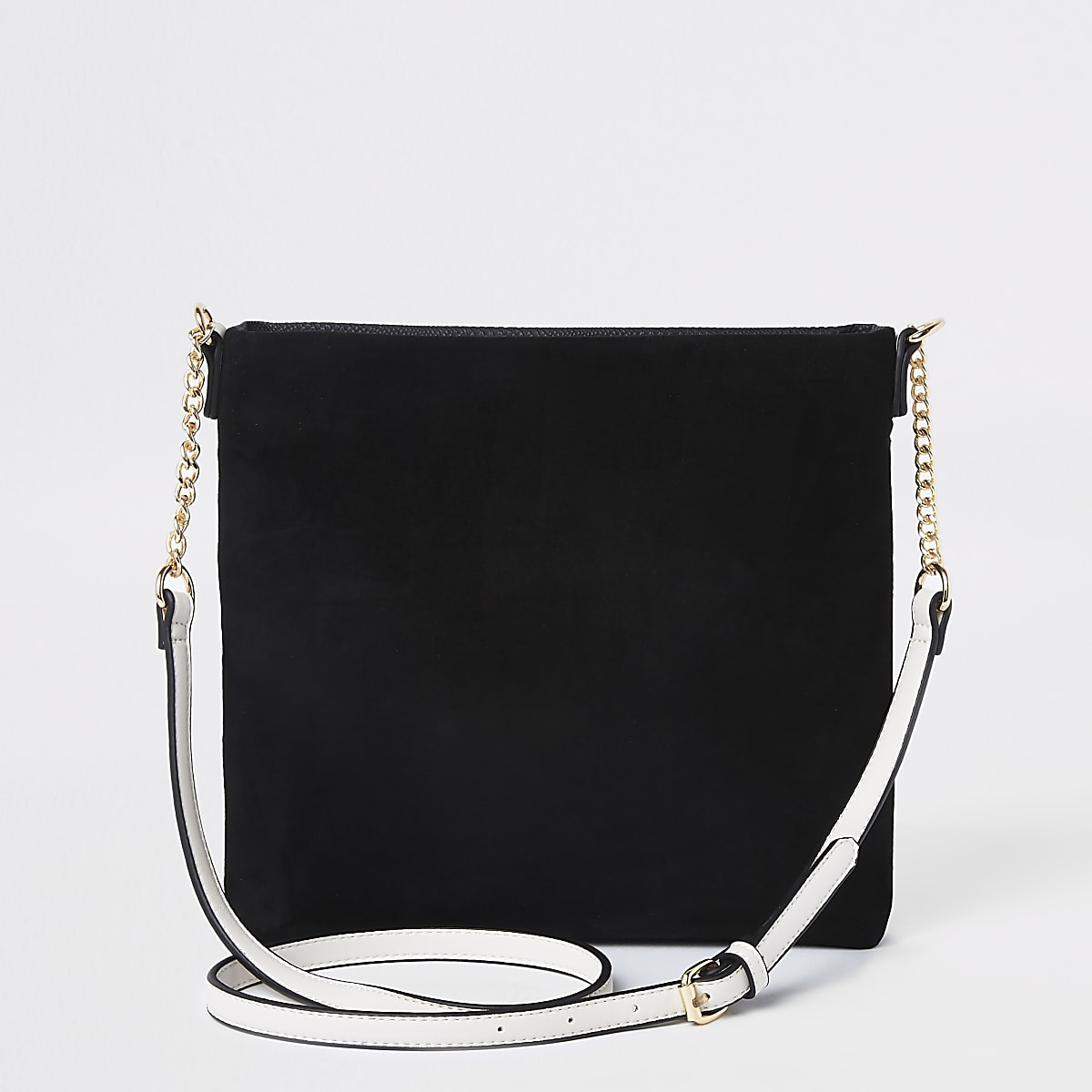 8cea3e39ffd Black zip front chain cross body bag - Cross Body Bags - Bags ...