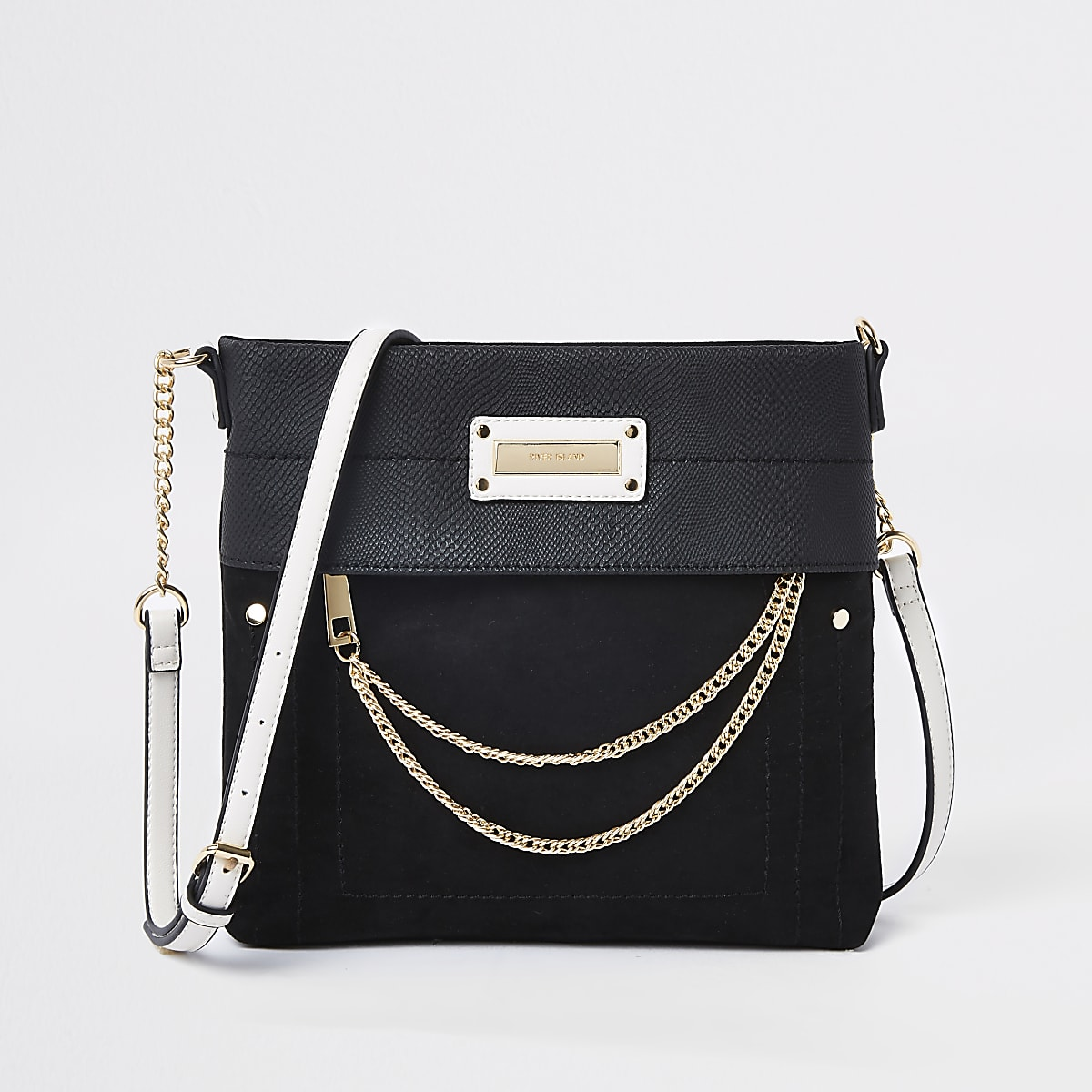 Black zip front chain cross body bag