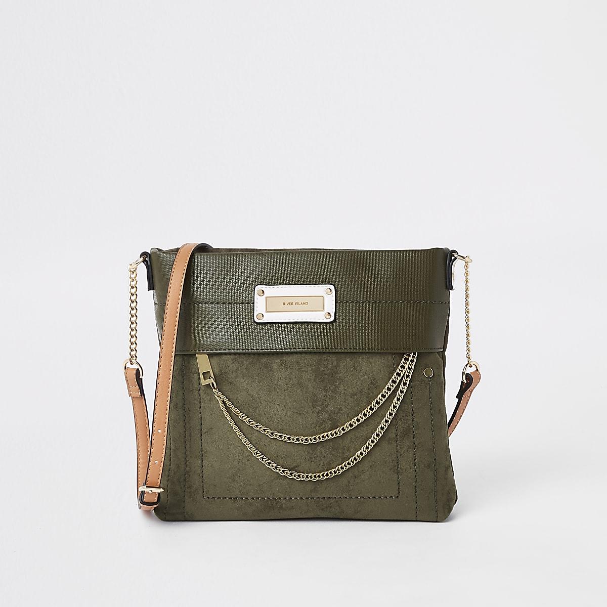 Khaki zip front chain cross body bag