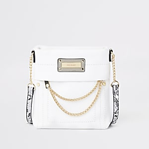 White zip front chain cross body bag