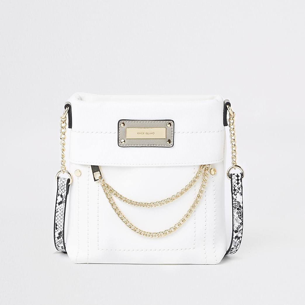 White zip front chain cross body bag