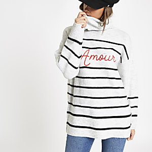 Cream stripe 'Amour' roll neck jumper
