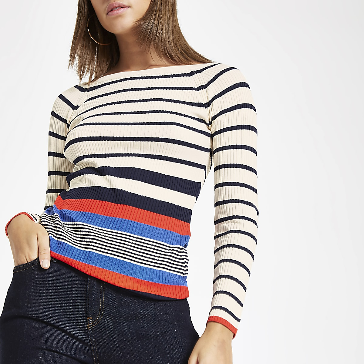 Cream stripe boat neck top