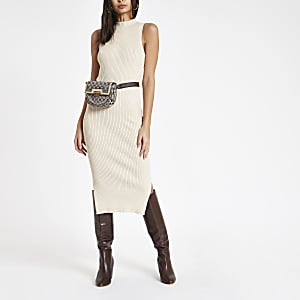 Cream ribbed high neck midi dress