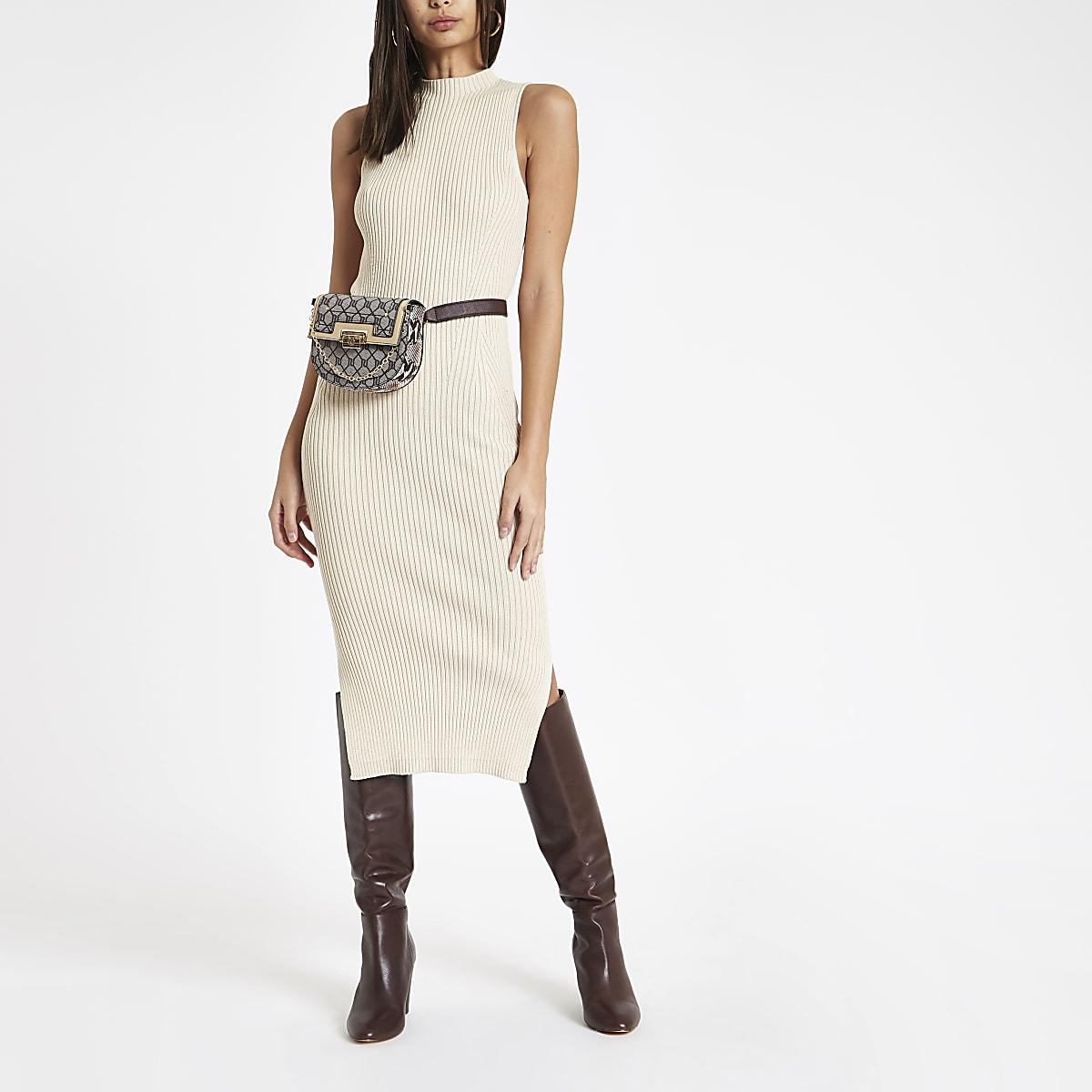Crème geribbelde hoogsluitende midi-jurk
