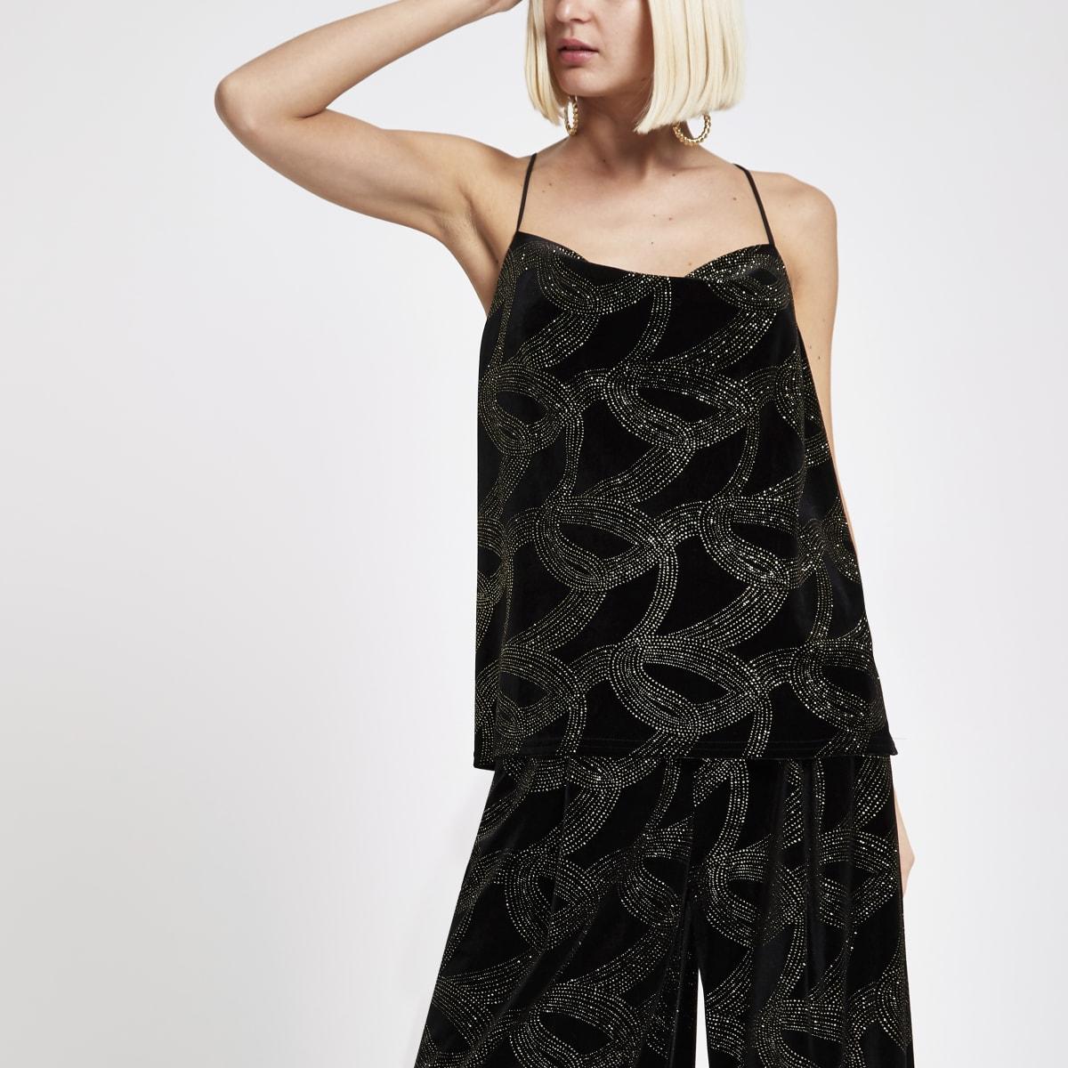 Zwarte cami top met losvallende col en glitter