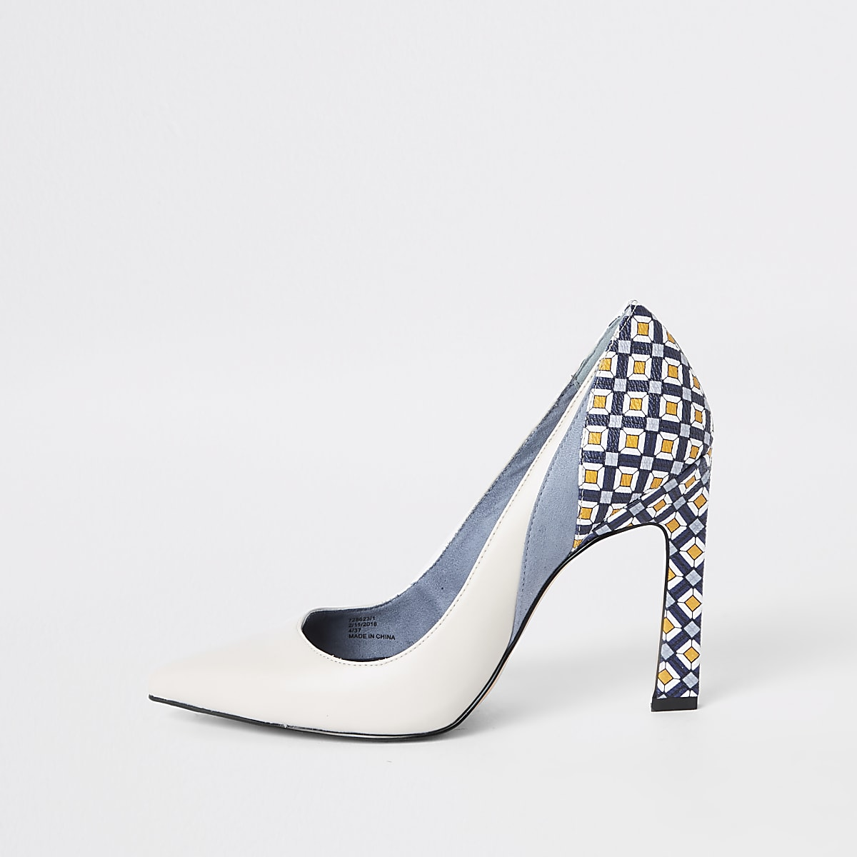 Blue printed block heel court shoes
