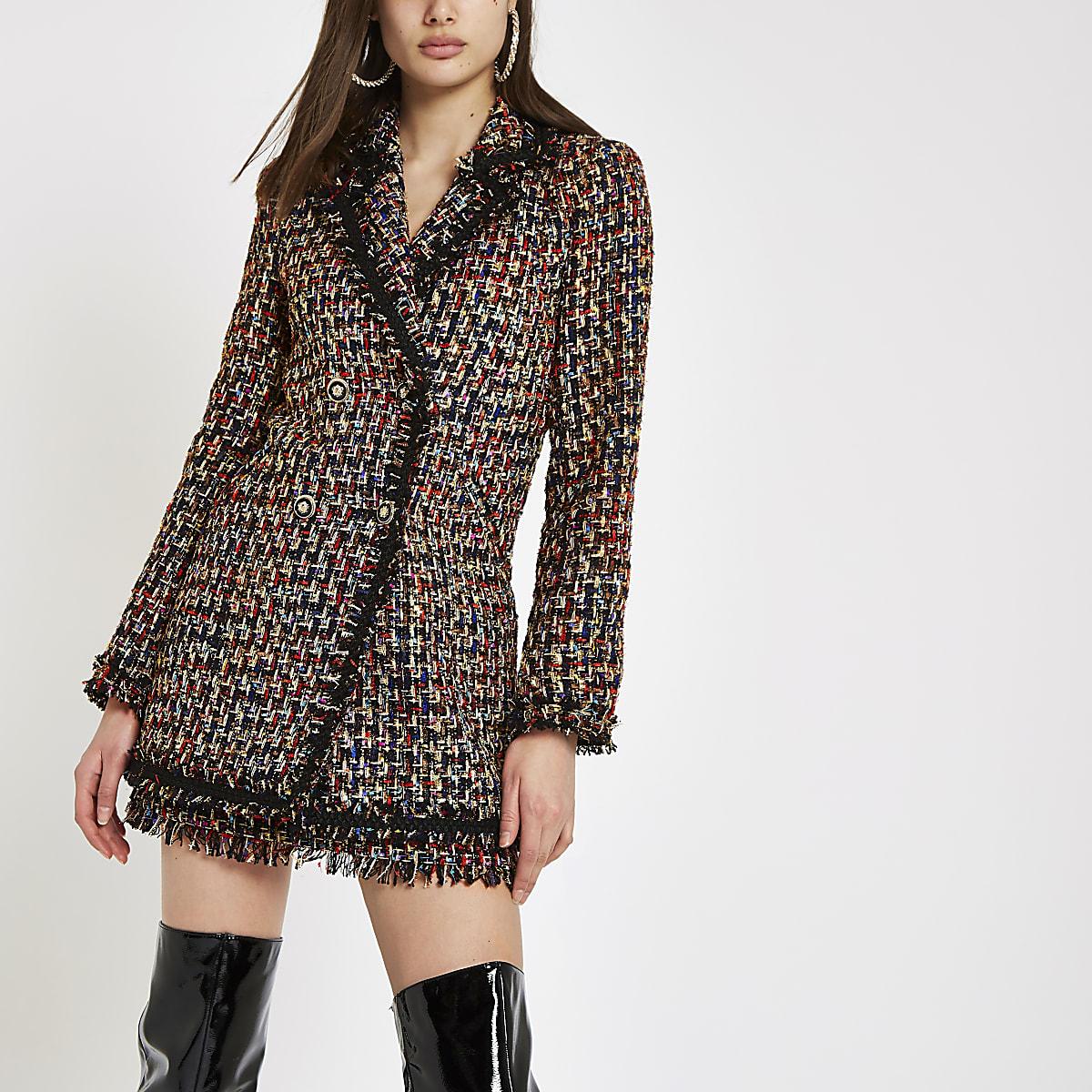 Black boucle double-breasted jacket