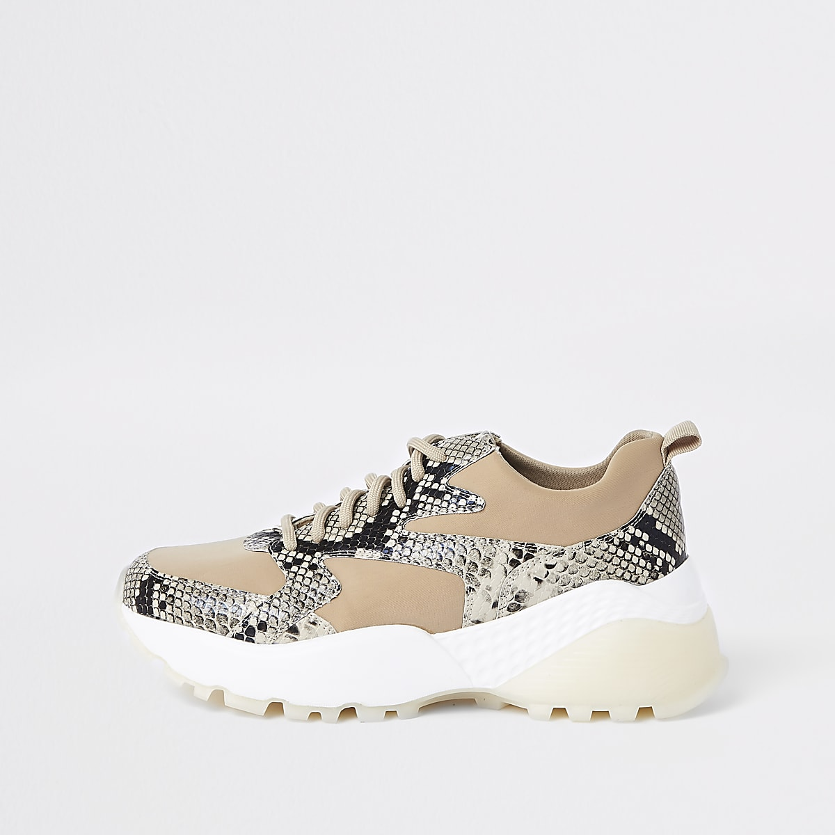Beige vetersneakers met slangenprint