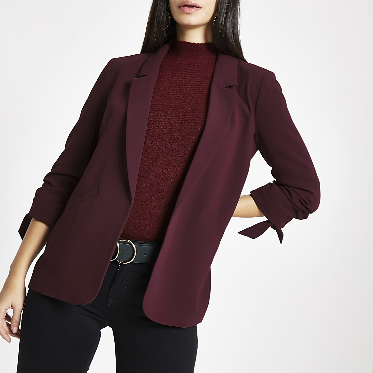 Dark red bow cuff blazer