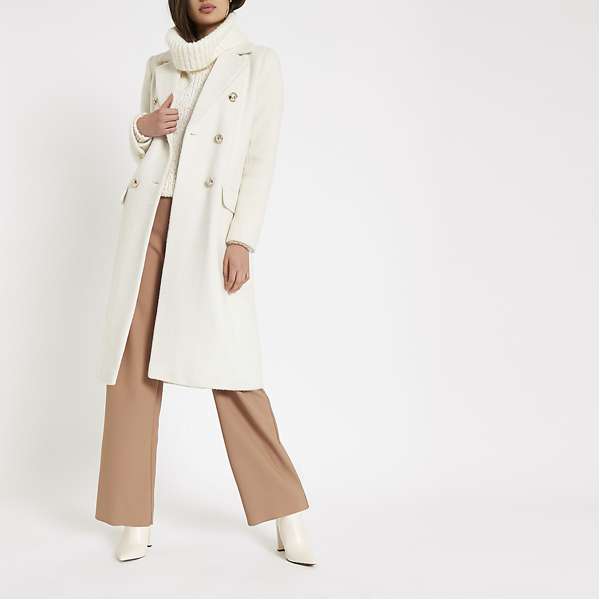 Cream double-breasted longline coat